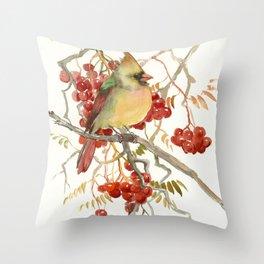 Cardinal Bird and Berries Throw Pillow