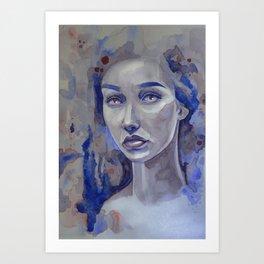 Inkblot Watercolour Portrait Art Print