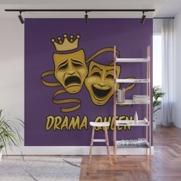 Drama Queen Comedy And Tragedy Gold Theater Masks Wall Mural