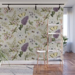 spring flowers with butterfly and beetles II Wall Mural