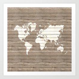 Wooden world map Art Print