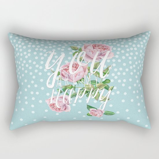 You are my happy- Roses Rose Flowers Polkadots - Vintage Design Rectangular Pillow