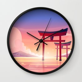 Traditional Japan Torii Gate Sunset Wall Clock