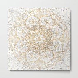 Trendy Gold Floral Mandala Marble Design Metal Print