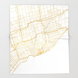TORONTO CANADA CITY STREET MAP ART Throw Blanket