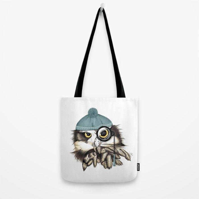 Owl eyeglass and cap Tote Bag
