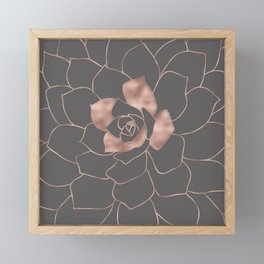 Rosegold  blossom on grey - Pink metal - effect flower Framed Mini Art Print