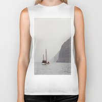 sailboat Biker Tanks featuring Sailboat by Leonor Saavedra