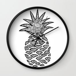Pineapple Black and White Pattern Wall Clock