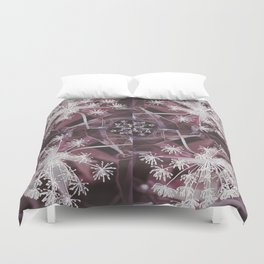 Dill Head in Dark Violet, Dreamy Floral Pattern Design Duvet Cover