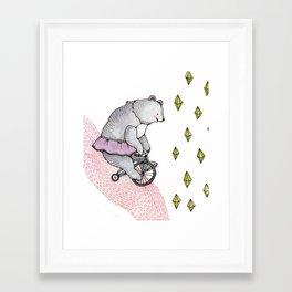 Cycling Bear Framed Art Print