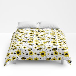 Honey Bumble Bee Yellow Floral Pattern Comforters