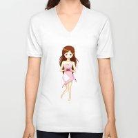 valentine V-neck T-shirts featuring Valentine by DyaniArt
