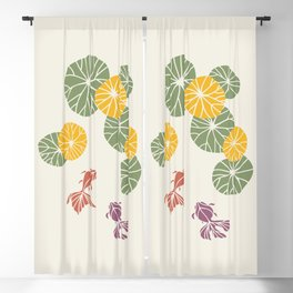 Water lily foliage and goldfish zen style Blackout Curtain