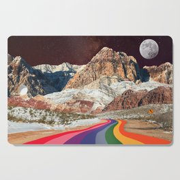 Retro Road Curves // Red Rock Canyon Collage Milky Way Galaxy Stars Moon 1960s Colors Cutting Board