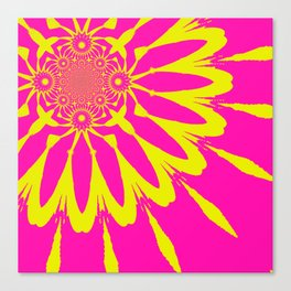 Pink & Yellow Modern Flower. Canvas Print