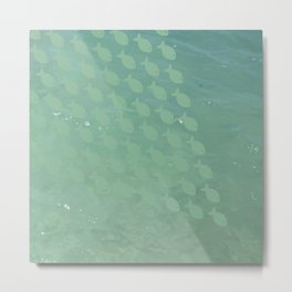 School of Fish Ocean Coastal Beach Print in Aqua Green and Turquoise Metal Print
