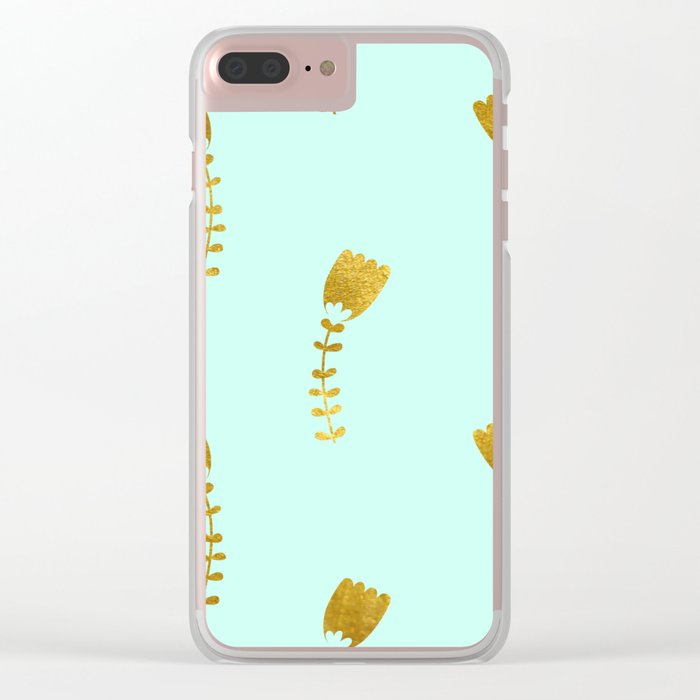 Mint Gold Foil 03 Clear iPhone Case