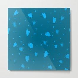 blue heart pattern Metal Print
