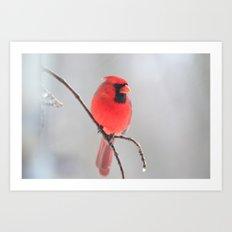 A Cardinal In A Snow Fall Art Print