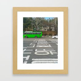 Green Korean Bus Framed Art Print