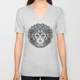 MONKEY head. psychedelic / zentangle style Unisex V-Neck