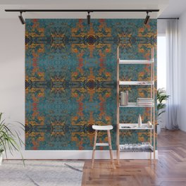The Spindles- Blue and Orange Filigree  Wall Mural