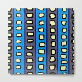 Lines and Circles Dark Gray and Blue Metal Print