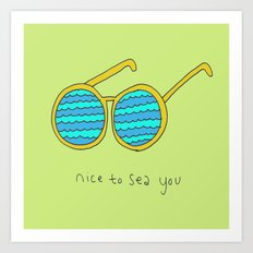 Nice to Sea You Retro Shades Green Art Print