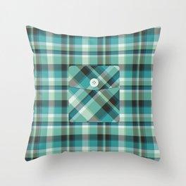 Plaid Pocket - Teal Blue/Green Throw Pillow