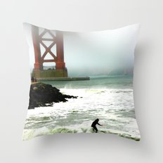 Surfing SF Bay Throw Pillow
