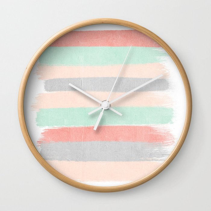 Stripes Hand Painted Abstract Minimal Nursery Decor Gender Neutral Palette Wall Clock By Charlottewinter Society6