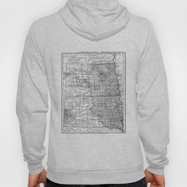 Vintage Map of North and South Dakota (1891) BW Hoody
