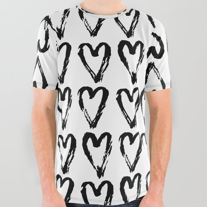 Black White Love Heart Pattern Mix Match With Simplicty Of Life All Over Graphic Tee By Simplicity_of_live Society6