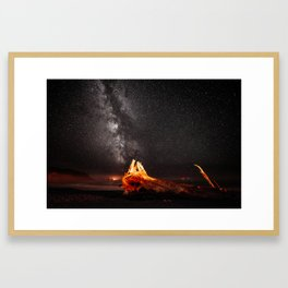Nightscape with driftwood Framed Art Print