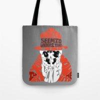 rorschach Tote Bags featuring Rorschach by Rebecca McGoran