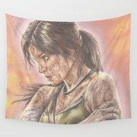 lara croft Wall Tapestries featuring Miss Croft by JadeJonesArt