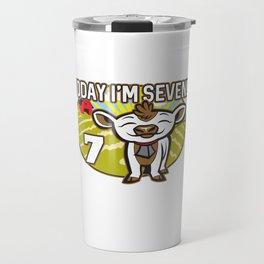Kid's 7th Birthday Today I'm Seven! Cute Cow Travel Mug