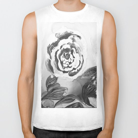Mother's Day Roses Silver Year Black and White Biker Tank