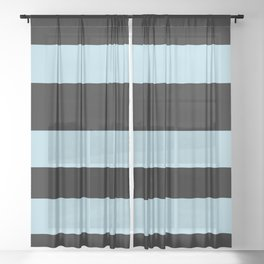 VA Healing Aire Blue - Angelic Blue - Soothing Blue Hand Drawn Fat Horizontal Lines on Black Sheer Curtain