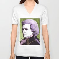 mozart V-neck T-shirts featuring Wolfgang Amadeus Mozart by Joseph Walrave