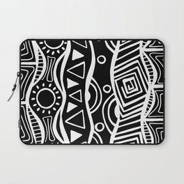 Four Waves - Freestyle Tribal Doodle Design - Black Laptop Sleeve