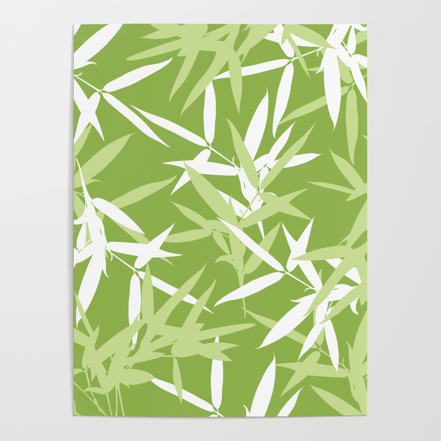 Green Bamboo Leaves Unique Pattern Poster By Oursunnycdays Society6