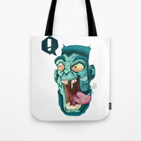 zombie Tote Bags featuring Zombie. by Rachel Alderson