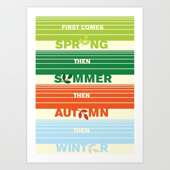 4 seasons leaf cycle Art Print