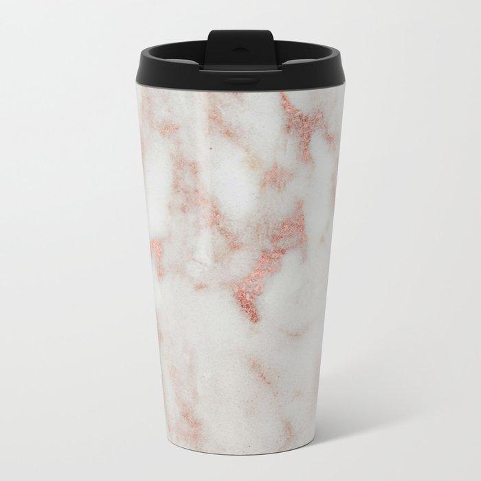 Marble - Metallic Blush Pink and White Marble by Nature Magick Metal Travel Mug