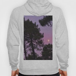 Moon through the trees. Into the woods at sunset Hoody