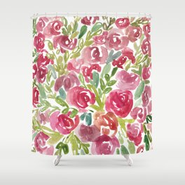 Maya's Garden Watercolor Painting Shower Curtain