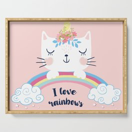 Cat unicorn with rainbow illustration. Serving Tray