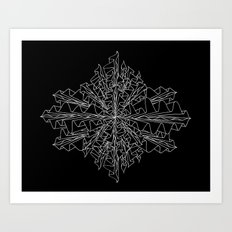 starburst line art - black Art Print